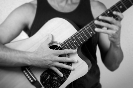 James-Olmos_Triptych-Selfy_Guitar_b&w